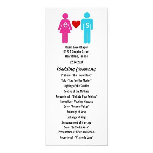 Monogram Love Couple Wedding Programs Rack Card Design