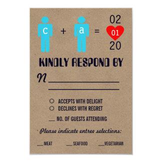 Monogram Love Couple Wedding RSVP Cards 9 Cm X 13 Cm Invitation Card