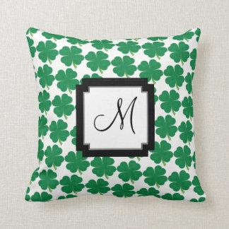 Monogram Lucky 4 Leaf Clover Throw Pillow