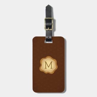 Monogram Luggage Tag - Bronze Ink, Elegant Brown