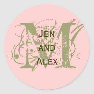 Monogram M and Names Pink Sticker