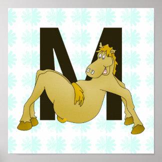 Monogram M Cartoon Pony Personalised Poster