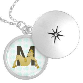 Monogram M Cartoon Pony Personalised Round Locket Necklace