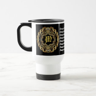 Monogram M CUSTOMIZE To Change Background Color Stainless Steel Travel Mug