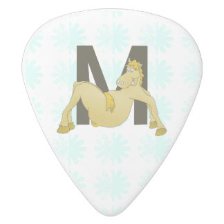 Monogram M Funny Pony Personalised White Delrin Guitar Pick
