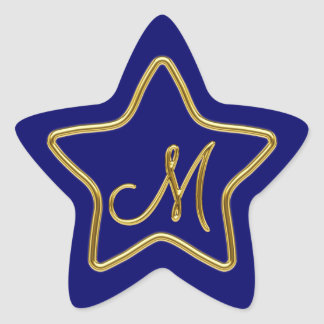 Monogram M in 3D gold Star Sticker