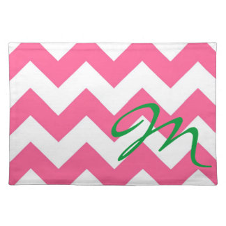 Monogram M Pink JUMBO  Chevron Placemat  Mally Mac