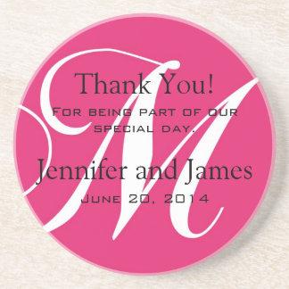 Monogram M Pink White Wedding Favour Coasters