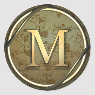 monogram_m round sticker