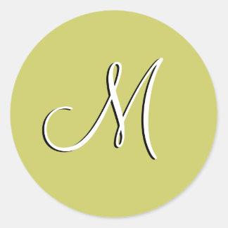 Monogram M Wedding Invitation Green Seal Round Sticker