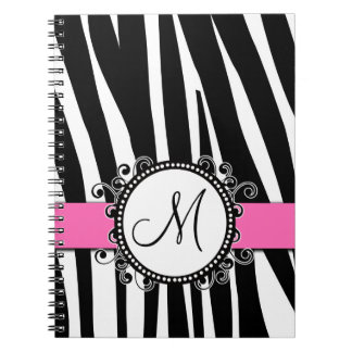 Monogram M Zebra Pattern Pink Notebook