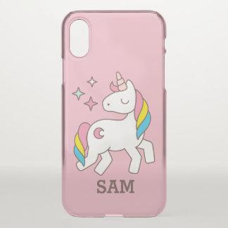 Monogram. Magical Cute Rainbow Unicorn. iPhone X Case