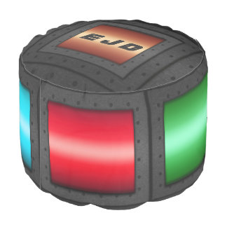 Monogram Man Cave Riveted Steel with color panels Pouf