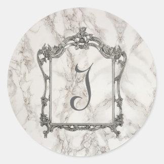Monogram, Marble Effect. Classic Round Sticker