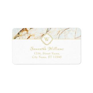 Monogram Marble Elegant Classy Address Label