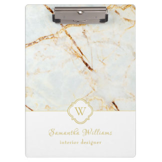 Monogram Marble Elegant White Gold Clipboard