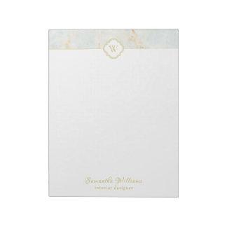 Monogram Marble Elegant White Gold Letter Notepad