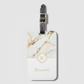 Monogram Marble Elegant White Gold Luggage Tag