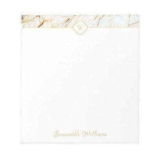 Monogram Marble Elegant White Gold Small Notepad
