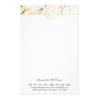 Monogram Marble Elegant White Gold Stationery