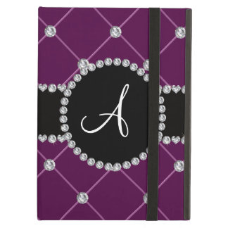 Monogram maroon tuft diamonds iPad air cases