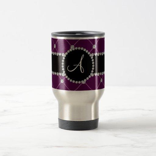 Monogram maroon tuft diamonds coffee mugs