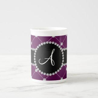Monogram maroon tuft diamonds tea cup