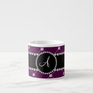 Monogram maroon tuft diamonds 6 oz ceramic espresso cup