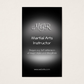 Monogram, Martial Arts Instructor, metal-look Business Card