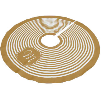 Monogram Matte Gold and White Striped Brushed Polyester Tree Skirt