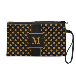 Monogram Matte Gold on Black Polka Dots Wristlet Purses