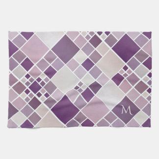 Monogram Mauve Checkered Pattern Kitchen Towel
