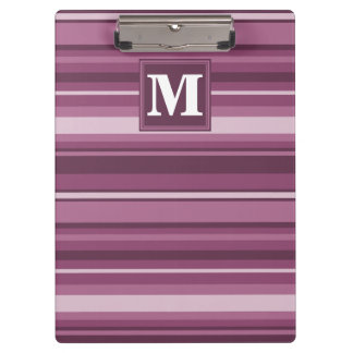Monogram mauve stripes clipboard