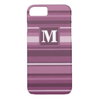Monogram mauve stripes iPhone 8/7 case