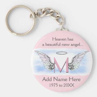 Monogram | Memorial |  Angel Wings Basic Round Button Key Ring