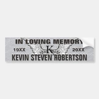 Monogram Memorial Angel Wings Bumper Sticker