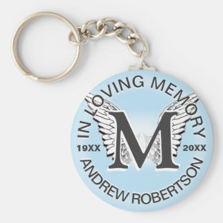 Monogram | Memorial |  Angel Wings Key Ring