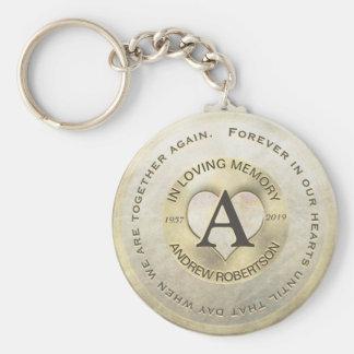 Monogram   Memorial   Gold Heart Key Ring