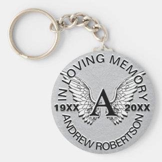 Monogram   Memorial   Silver Angel Wings Basic Round Button Key Ring