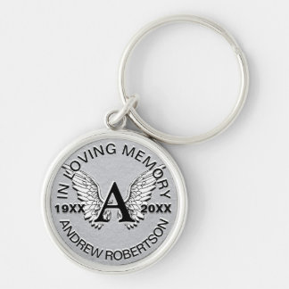 Monogram | Memorial | Silver Angel Wings Silver-Colored Round Key Ring