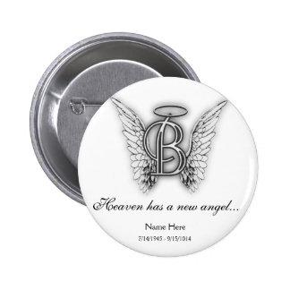 Monogram Memorial Tribute Letter B 6 Cm Round Badge