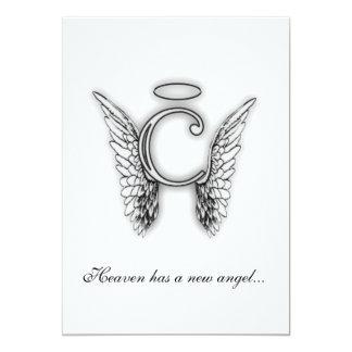 Monogram Memorial Tribute Letter C 5x7 Paper Invitation Card