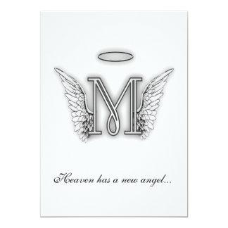 Monogram Memorial Tribute Letter M 13 Cm X 18 Cm Invitation Card