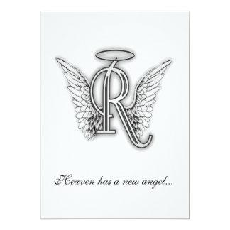 Monogram Memorial Tribute Letter R 13 Cm X 18 Cm Invitation Card