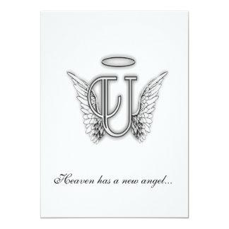 Monogram Memorial Tribute Letter U Custom Announcements