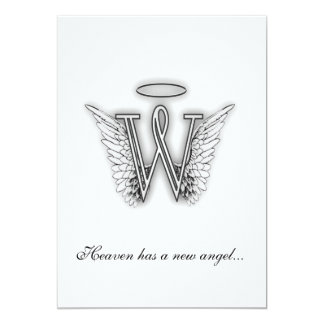 Monogram Memorial Tribute Letter W Invite