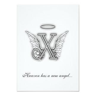 Monogram Memorial Tribute Letter X 5x7 Paper Invitation Card