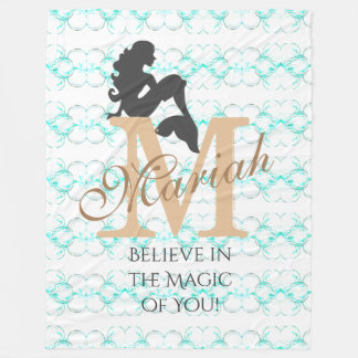 Monogram Mermaid Silhouette Fleece Blanket Custom