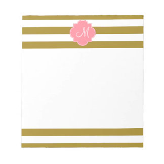 Monogram Metallic Gold and Pink Striped Pattern Notepad