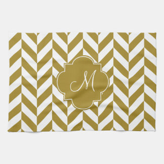 Monogram Metallic Gold Herringbone Pattern Tea Towel